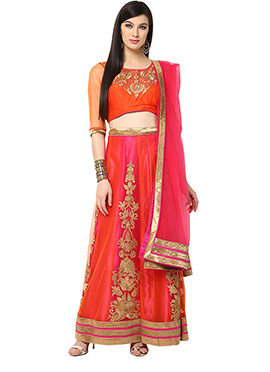 Orange Blended Cotton Lehenga choli set From Home