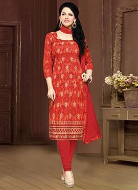 Orange Cambric Cotton Straight Suit