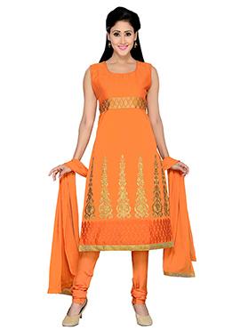 Orange Chanderi Churidar Suit