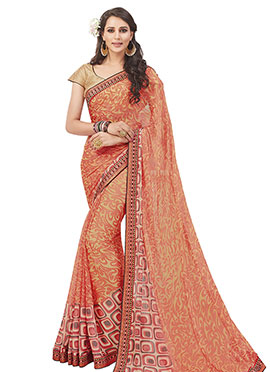 Orange Chiffon Brasso Patterned Saree