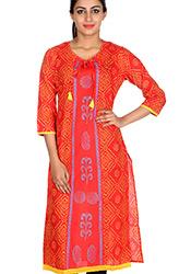 Orange Cotton Bandhani Style Printed Kurti