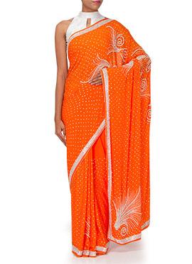 Orange Crepe Embellished Saree