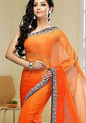 Orange Embellished Satin Chiffon Saree