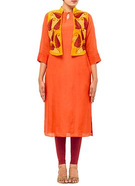 Orange Embroidered Jacket Kurti