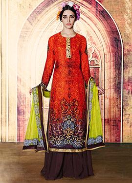 Orange Embroidered Palazzo Suit