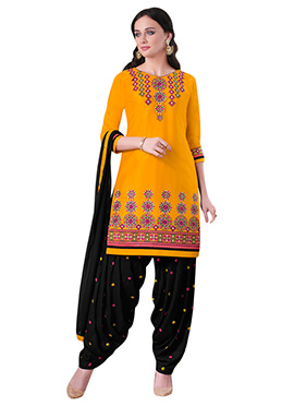 Dark Yellow Embroidered Patiala Suit