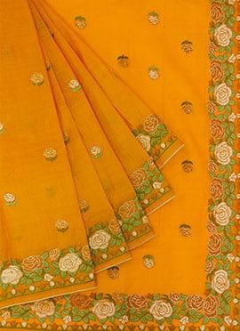 Orange Embroidered Saree