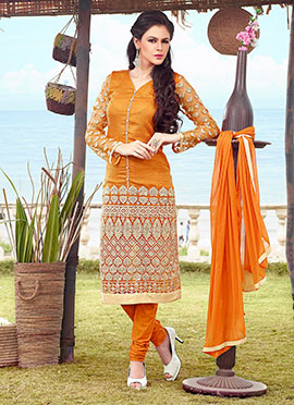 Orange Embroidered Silk Cotton Churidar Suit