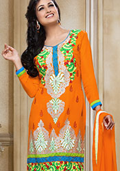 Orange Embroidered Viscose Churidar Suit
