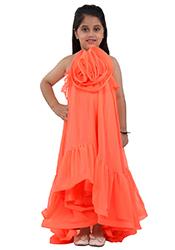 Orange Faux Georgette Kids Dress KDDKD01165