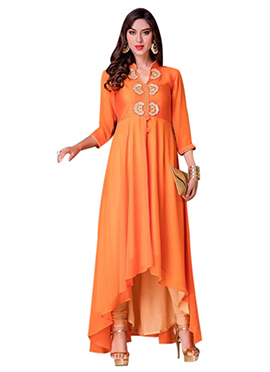 Orange Georgette Asymmetric Hem Kurti