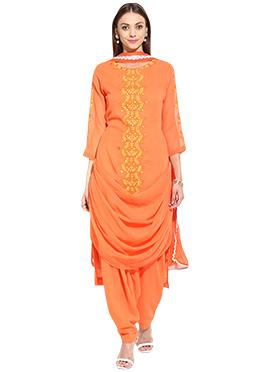 Orange Georgette Drape Style Semi Patiala Suit