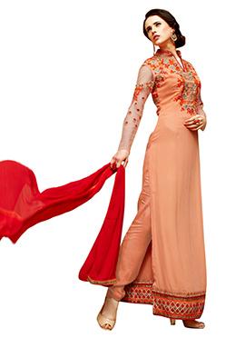 Orange Georgette Embroidered Pakistani Suit