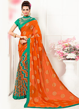 Orange Georgette Half N Half Saree