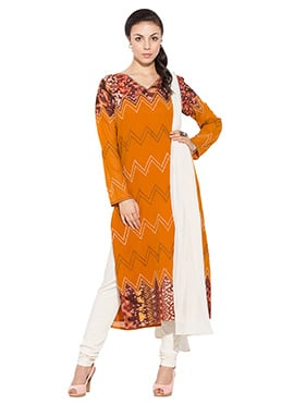 Orange Georgette Plus Size Straight Suit