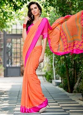 Orange Georgette Printed Saree