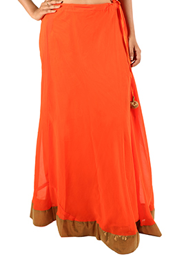 Orange Georgette Skirt