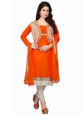 Orange Jacket Model Churidar Suit