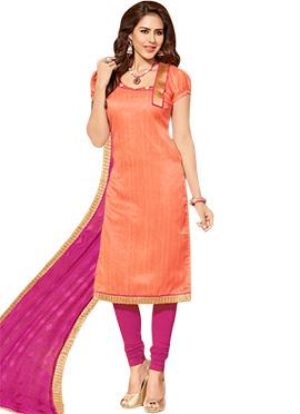 Orange Jute Silk Churidar Silk