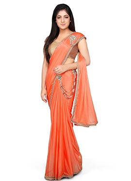 Orange Lycra Ready Pleated Saree