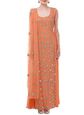 Orange Moonlight Ankle length Anarkali Suit