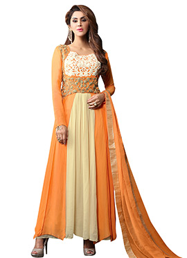 Orange N Beige Georgette Anarkali Suit