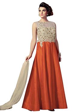 Orange N Beige Silk Anarkali Suit
