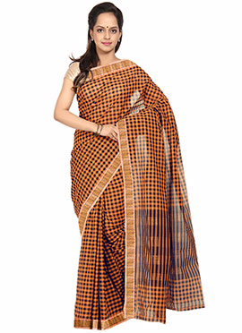 Orange N Black Checkered Pattern Cotton Saree