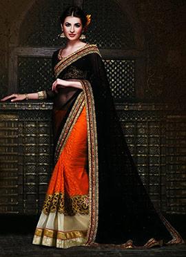 Orange N Black Half N Half Saree