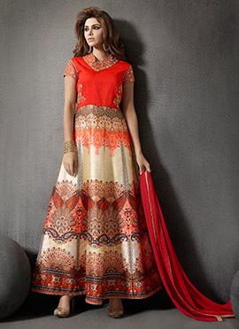 Orange N Cream Anarkali Suit
