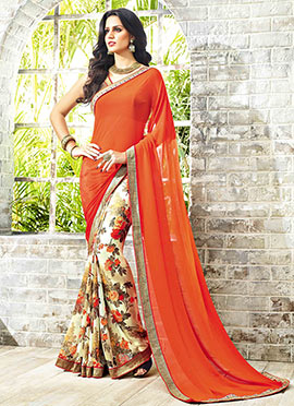 Orange N Cream Georgette Half N Half Saree