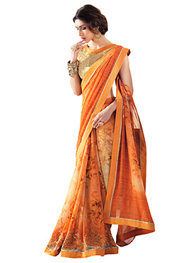 Orange N Cream Ombre Georgette Printed Saree