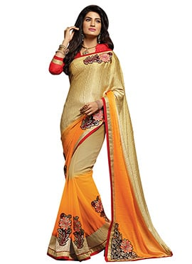 Orange N Gold Colored Half N Half Saree