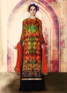 Orange N Green Embroidered Palazzo Suit