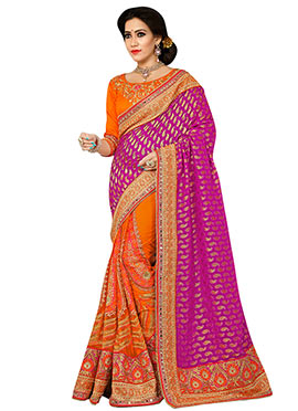 Orange N Magenta Embroidered Half N Half Saree