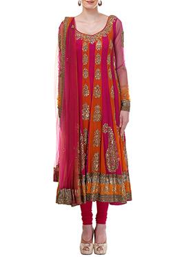 Orange N Magenta Moonlight Anarkali Suit