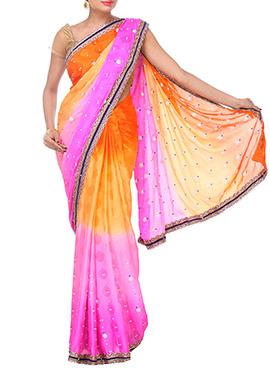 Orange N Magenta Pink Ombre Dyed Saree