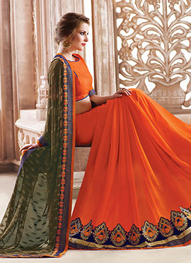 Orange N Olive Green Half N Half Saree
