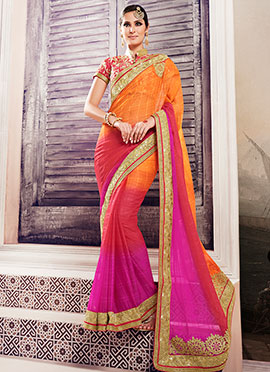 Orange N Pink Brasso Chiffon Saree
