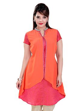 Orange N Pink Chiffon N Chanderi Short Kurti