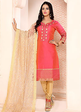 Orange N Pink Dual Tone Churidar Suit