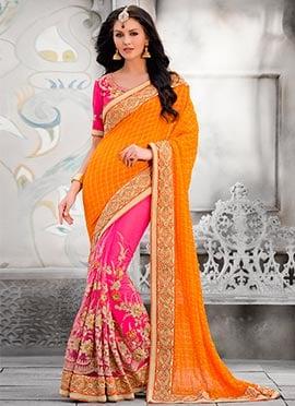 Orange N Pink Embroidered Half N Half Saree
