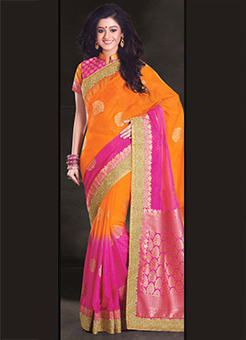 Orange N Pink Uppada Silk Saree