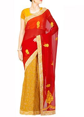 Orange N Red Embroidered Half N Half Saree