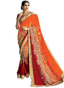 Orange N Red Georgette Ombre Dyed Saree