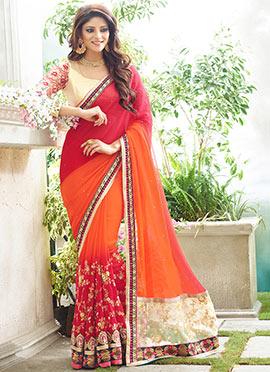 Orange N Red Half N Half Saree