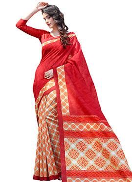 Orange N Red Pashmina Silk Half N Half Saree