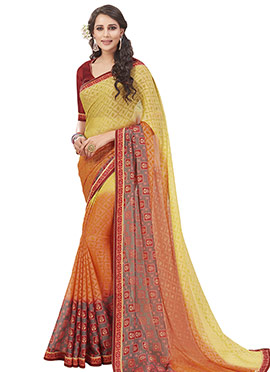 Orange N Yellow Chiffon Brasso Ombre Saree