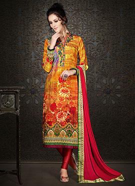 Orange N Yellow Satin Crepe Straight Suit