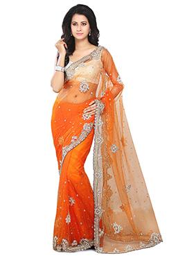 Orange Net Embellished Saree